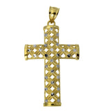14K Real 2 Tone Yellow White Gold Religious Cross Flower Charm Pendant