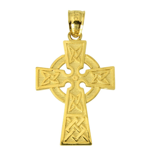 14K Real Authentic Yellow Gold Religious Celtic Cross Charm Pendant