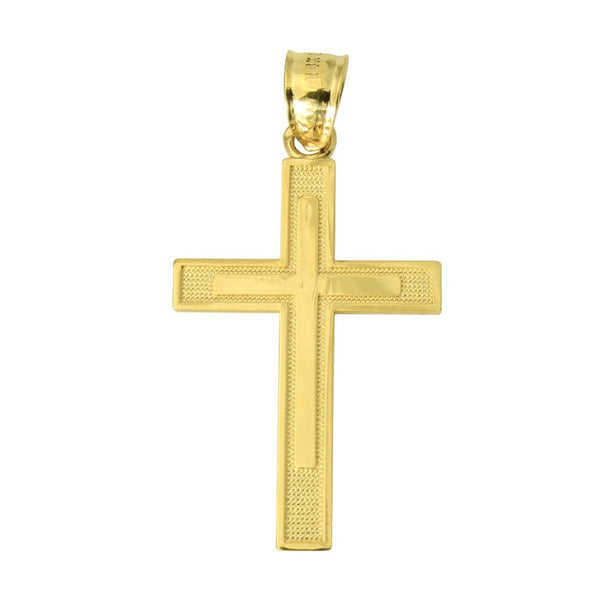 14K Real Yellow Gold Religious Cross Charm Pendant