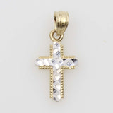 14K Real 2 Tone Yellow White Gold Religious Cross Diamond Cut Tiny Charm Pendant