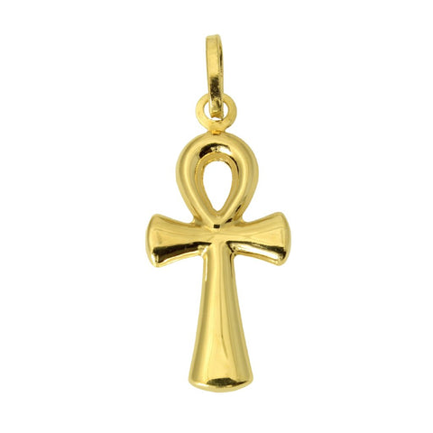 14K Real Yellow Gold Religious Ankh Cross Light Stamped Open Hollow Charm Pendant