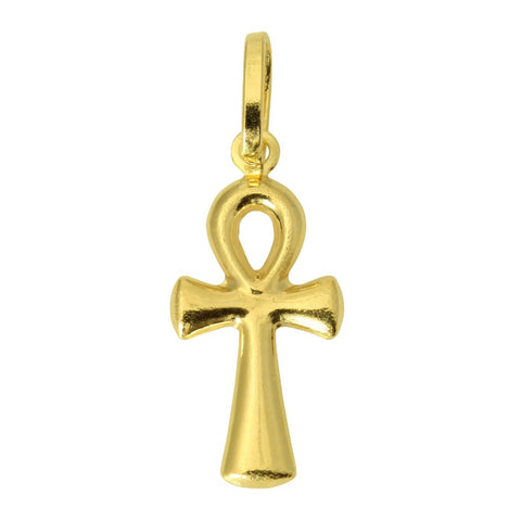 14K Real Yellow Gold Religious Tiny Ankh Cross Stamped Half Hollow Charm Pendant