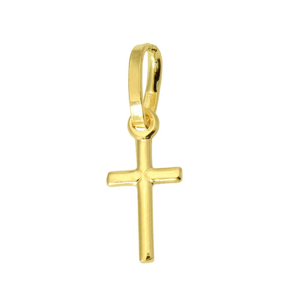 14K Real Yellow Gold Religious Cross Very Tiny Light Charm Pendant for Baby & Children
