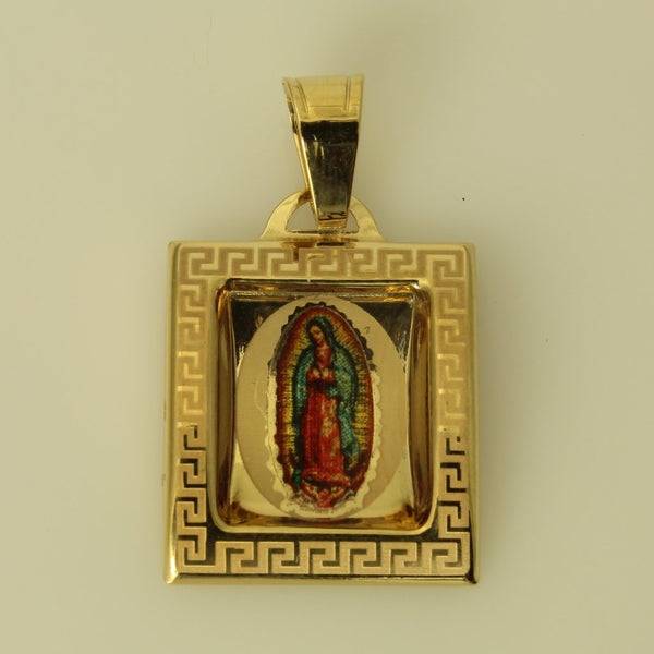 14K Real Yellow Gold Our Lady of Guadalupe Enamel Small Charm Pendant