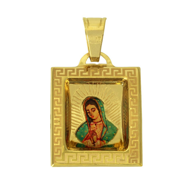 14K Real Yellow Gold Small Virgen De Guadalupe Color Picture Square Charm Pendant??