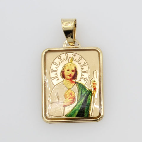 14K Real Yellow Gold Religious Saint Jude Enamel Rectangular Small Charm Pendant