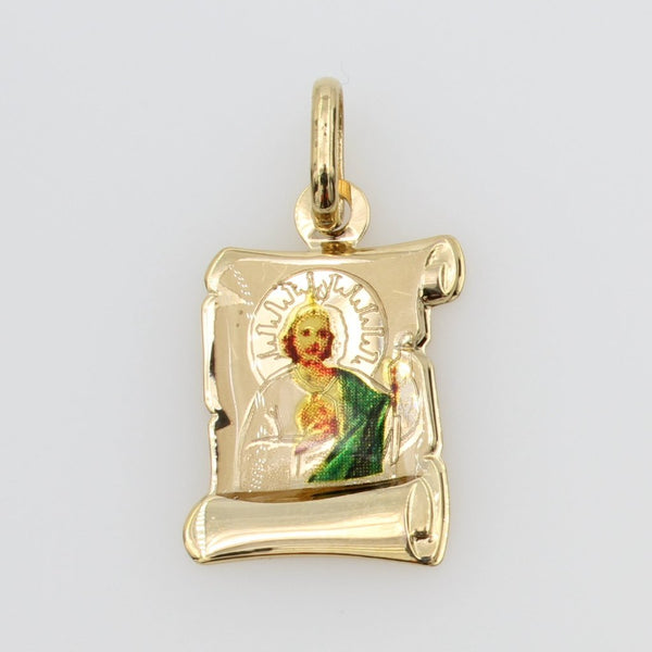 14K Real Yellow Gold Religious Saint Jude Color Enamel Scroll Small Charm Pendant San Judas