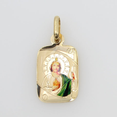 14K Real Yellow Gold Religious Saint Jude Enamel Rectangular Small Charm Pendant for Children & Baby
