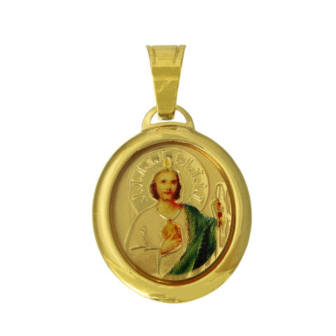 14K Real Yellow Gold Religious Saint Jude Enamel Oval Small Charm Pendant