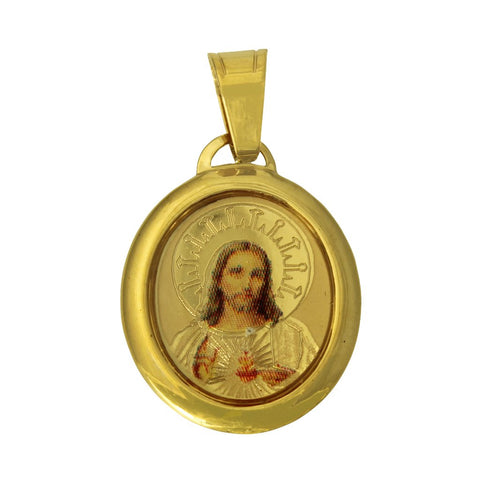 14K Real Yellow Gold Religious Jesus Heart Enamel Picture Oval Small Charm Pendant