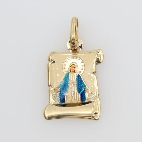 14K Real Yellow Gold Blessed Virgin Mary Miraculous Enamel Scroll Small Charm Pendant Milagrosa