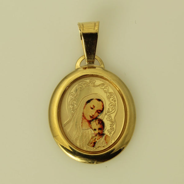 14K Real Yellow Gold Our Lady of Mount Carmel ViWM-RG-in Mary Color Picture Charm Pendant