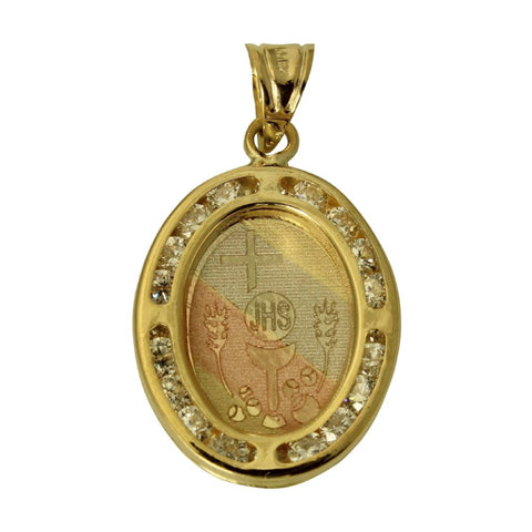 14K Real 3 Color Yellow White Rose Gold Oval 1st First Communion Cubic Zirconia Small Charm Pendant Primera Comunion