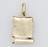14K Real Yellow Gold Religious Communion Color Enamel Scroll Small Charm Pendant