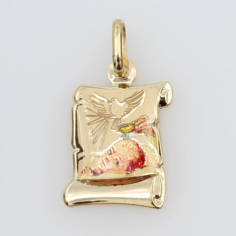 14K Real Yellow Gold Religious Baptism Enamel Scroll Small Charm Pendant for Children & Baby