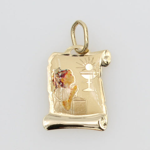 14K Real Yellow Gold Religious 1st First Communion Girl Enamel Scroll Small Charm Pendant for Children