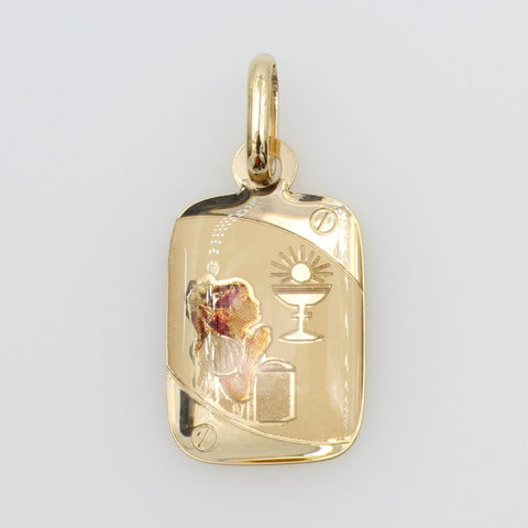 14K Real Yellow Gold Religious 1st First Communion Girl Enamel Rectangular Small Charm Pendant for Children
