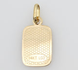 14K Real Yellow Gold Religious Baptism Enamel Small Charm Pendant for Children & Baby