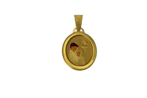 14K Real Yellow Gold Religious 1st First Communion Boy Enamel Oval Small Charm Pendant for Children