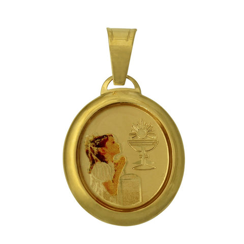 14K Real Yellow Gold Religious 1st First Communion Girl Enamel Oval Small Charm Pendant for Children