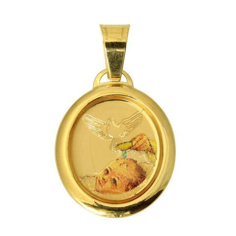 14K Real Yellow Gold Religious Baby Baptism Enamel Oval Small Charm Pendant