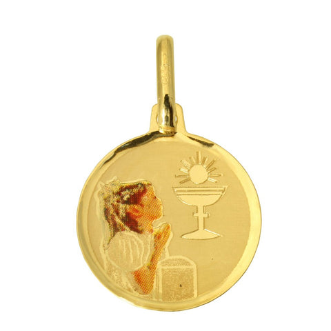 14K Real Yellow Gold Religious Baptism Enamel Round Small Charm Pendant for Children & Baby