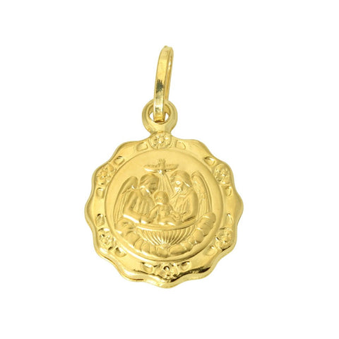 14K Real Yellow Gold Religious Baby Baptism Round Small Charm Pendant