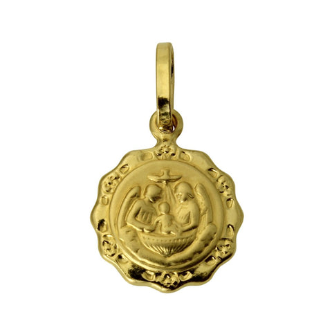 14K Real Yellow Gold Religious Baptism Small Charm Pendant