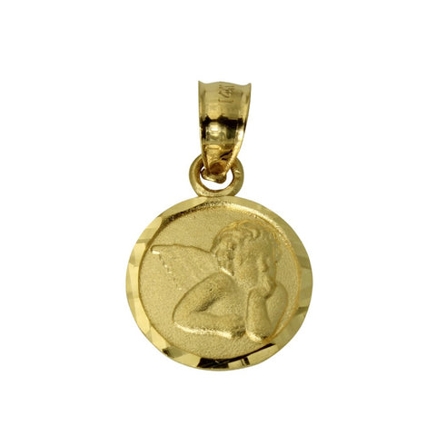 14K Real Yellow Gold Very Tiny Religious Baby Angel Round Charm Pendant