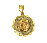 14K Real 3 Color Yellow White Rose Gold Religious Baby Baptism Small Round Charm Pendant Bautizo