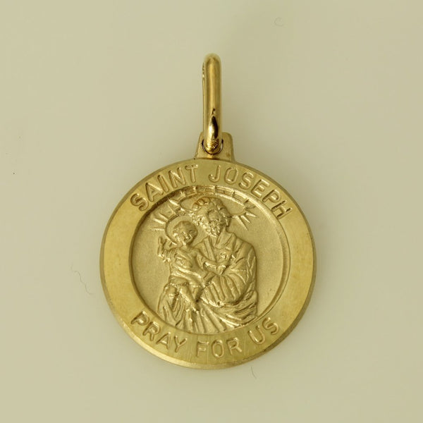 "14K Real Yellow Gold Religious ""Saint Joseph Pray for Us"" Medal Small Charm Pendant"