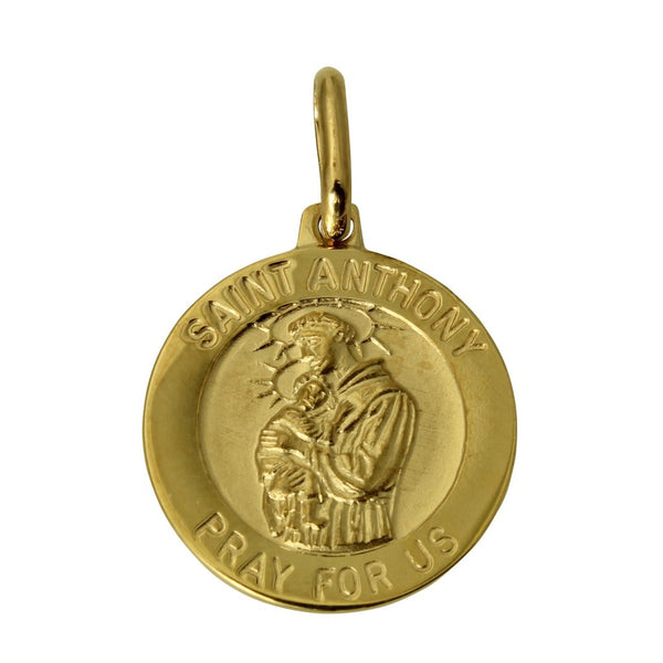 "14K Real Yellow Gold Religious ""Saint Anthony Pray for Us"" Medal Small Charm Pendant"
