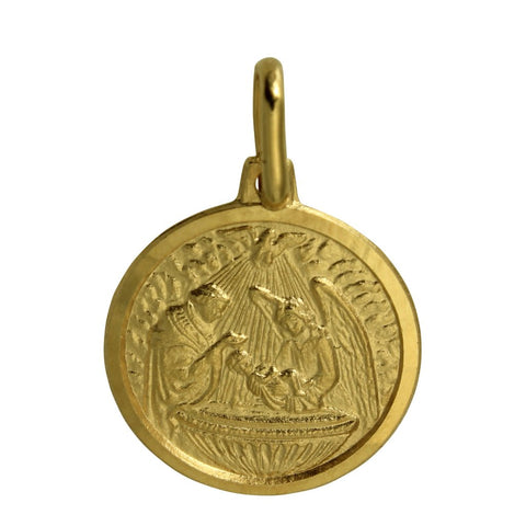 14K Real Yellow Gold Religious Baptism Medal Small Charm Pendant Bautizo