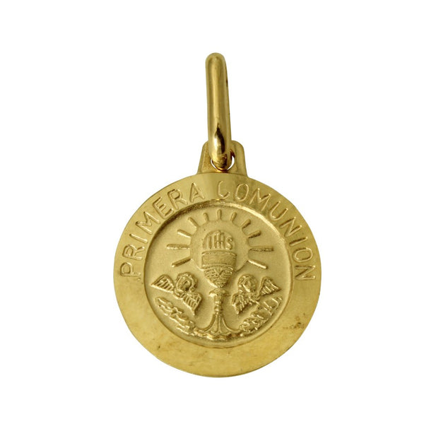 "14K Real Yellow Gold Religious ""Primera Comunion"" Medal Small Charm Pendant"
