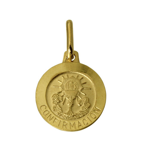 "14K Real Yellow Gold Religious ""Confirmacion"" Medal Small Charm Pendant"