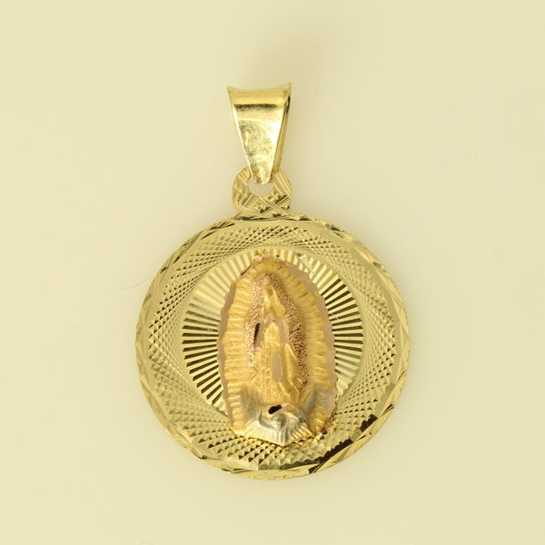 14K Real 3 Color Yellow White Rose Gold Diamond Mary Guadalupe Stamp Round Small Charm Pendant