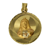 14K Real 3 Color Yellow White Rose Gold Diamond Cut Small Virgin Guadalupe Jesus Sacred Heart 2 Side Round Charm Pendant