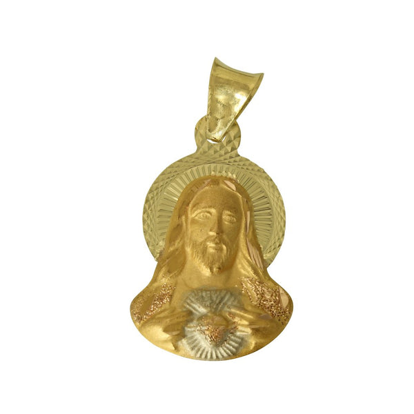 14K Real 3 Color Yellow White Rose Gold Diamond Cut Jesus Sacred Heart Stamp Small Charm Pendant