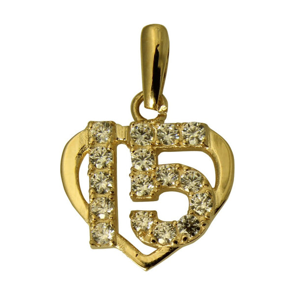 14K Real Yellow Gold Sweet 15 Anos Quinceanera Heart Cubic Zirconia Small Charm Pendant