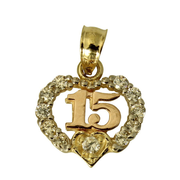 14K Real 3 Color Yellow White Rose Gold Sweet 15 Anos Quinceanera Heart Cubic Zirconia Small Charm Pendant