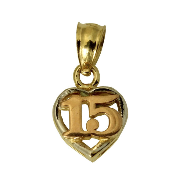 14K Real 3 Color Yellow White Rose Gold Sweet 15 Anos Quinceanera Heart Tiny Charm Pendant