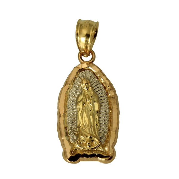 14K Real 3 Color Yellow White Rose Religious Mary Guadalupe Small Charm Pendant
