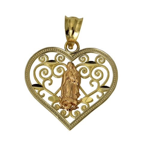 14K Real 3 Color Yellow White Rose Gold Diamond Cut Religious Mary Guadalupe Heart Charm Pendant