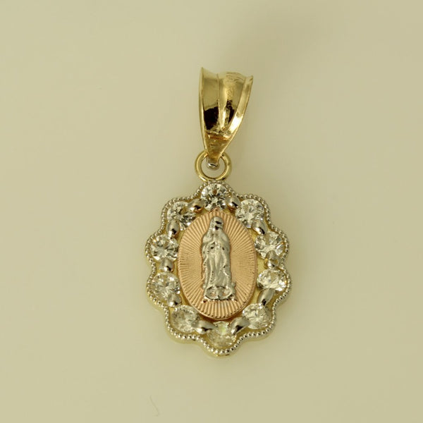 14K Real 3 Color Yellow White Rose Gold Virgen de Guadalupe Oval Cubic Zirconia Small Charm Pendant