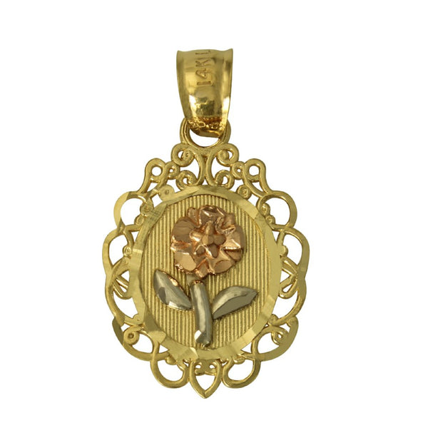 14K Real 3 Color Yellow White Rose Gold Diamond Cut Flower Oval Charm Pendant