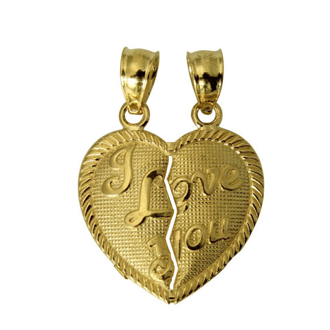 "14K Real Yellow Gold ""I Love You"" Couple Split Breakable Heart Small Charm Pendant"
