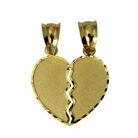 14K Real Yellow Gold Small Couple Broken Breakable Split Heart Love Charm Pendant