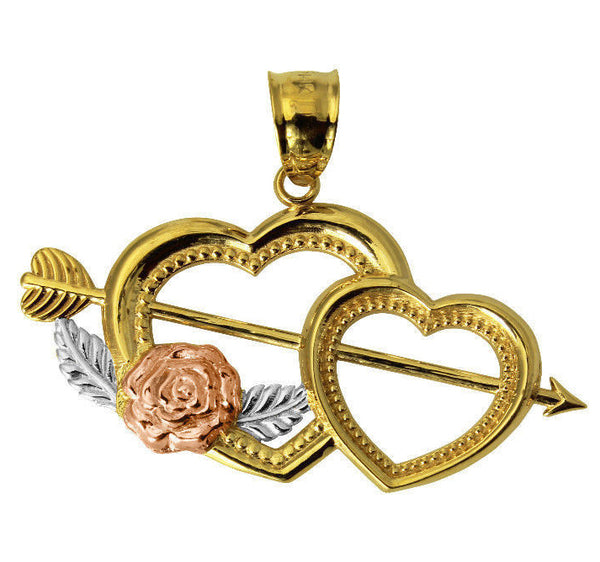 14K Real 3 Color Yellow White Rose Gold Small Cupid Arrow Double Heart Charm Pendant