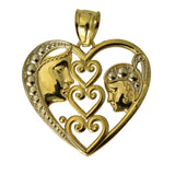 14K Real 2 Tone Yellow and White Gold Men & Women Face Small Heart Charm Pendant