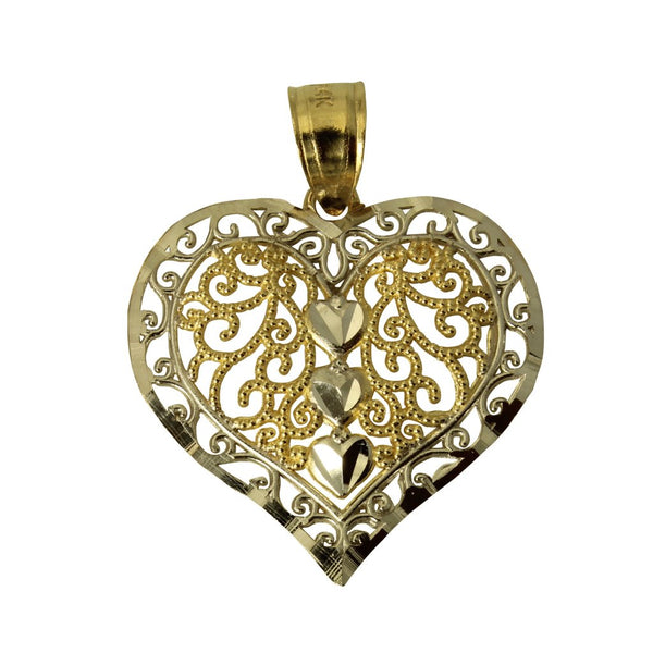 14K Real 2 Tone Yellow and White Gold Diamond Cut Small Heart Charm Pendant